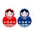 Cute Russian Matreshka dolls - red and blue vector image vector image