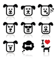 Dog icons set - happy sad angry isolated vector image vector image