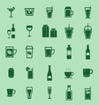 Drink color icons on green background vector image