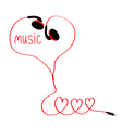 Earphones and red cord in shape of three hearts vector image vector image