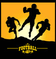 football players in silhouettes vector image