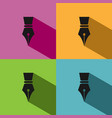 fountain pen icon with shadow on colored vector image vector image