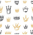hand drawn black and golden crowns seamless vector image
