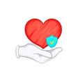 Hand holding red heart and sky blue shield icon vector image vector image
