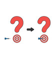 icon concept question mark bulls eye and dart vector image