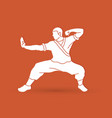 kung fu action ready to fight vector image vector image