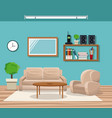 living room with sofa chair pot tree telephone vector image