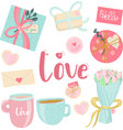 love elements in pastel colors blue pink and vector image vector image
