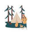 man with dog relax at camping during hiking vector image