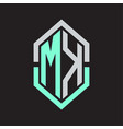mk logo monogram with hexagon shape and outline vector image vector image