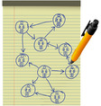 network plan human resources diagram legal pad pen vector image vector image