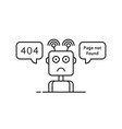 outline sad robot like 404 error vector image