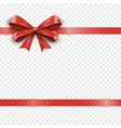 realistic horizontal red silk gift bow with ribbon vector image vector image