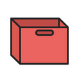 red cardboard box with handles icon vector image