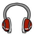 red headphones on white background vector image vector image