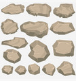 rock stone cartoon in flat style set of different vector image