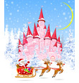 santa and deers on the background of a pink castle vector image