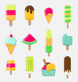 set colorful ice cream on stick with different vector image