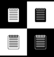 set notebook icons on black and white background vector image