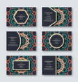 set of ornamental hand drawn mandala cards vector image