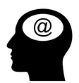 SIlhouette of head with email sign vector image vector image