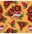 tattoo love pattern rose vector image vector image