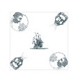 the anemoi gods winds and old sailing ship vector image