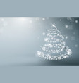 white christmas tree and sparkling lights garland vector image