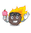 with ice cream meteorite character cartoon style vector image