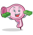 with money hair dryer character