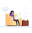 woman at home office girl working with laptop vector image vector image