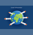 world full syringes protect covid-19 vector image vector image
