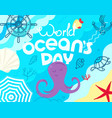 world oceans day sketchy style vector image