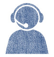 call center operator fabric textured icon vector image