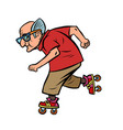 active sports old man on roller skates vector image