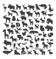 big set of black animals silhouettes in cartoon vector image vector image