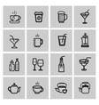 Black beverages icons set
