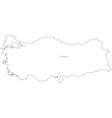Black White Turkey Outline Map vector image