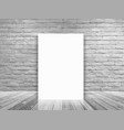 blank poster in white brick wall and concrete vector image vector image
