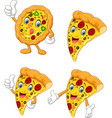 cartoon funny pizza collection set vector image vector image