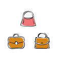 Collection of handbags on white background vector image vector image