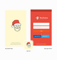 company santa clause splash screen and login page vector image