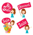 Cute girl with sale banners set vector image