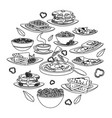 delicious tasty breakfast cartoon vector image vector image