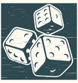 dices in retro style vector image vector image