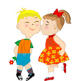 Girl giving a shameful boy a kiss on the cheek vector image