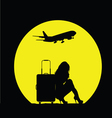 girl with travel bag and airplane vector image