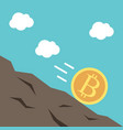 gold bitcoin falling downhill vector image