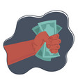 hands holding money cash vector image vector image