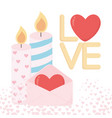 happy valentines day candles and mail love heart vector image